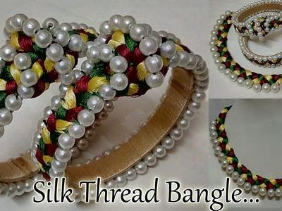 #83 How to make Pearl Beaded Silk Thread Bangle || Diy || Jewellery Making