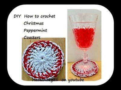 Crochet Christmas Peppermint Coasters, quick and easy method