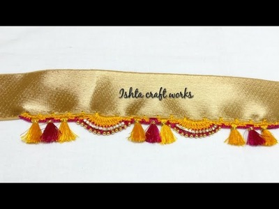 Crochet double arch with triple kuchu pattern - Saree tassel.kuchu