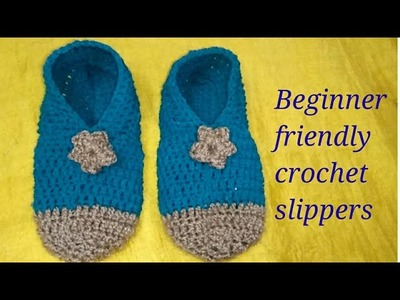 Crochet kids slipper for beginners with English subtitles