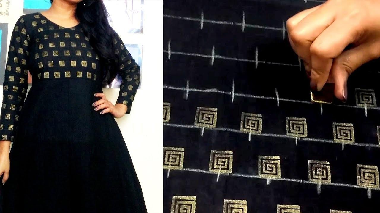 25df52062ffe1 DIY : Golden Printing on Fabric | Convert plain Top into Designer wear |  Block Printing at Home