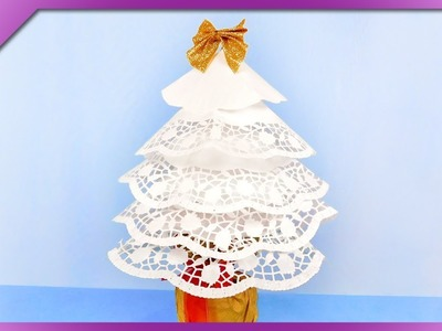 DIY How to make Christmas tree out of paper doilies (ENG Subtitles) - Speed up #434