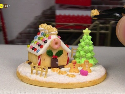 DIY Miniature Gingerbread Candy house ミニチュアお菓子の家作り Fake food