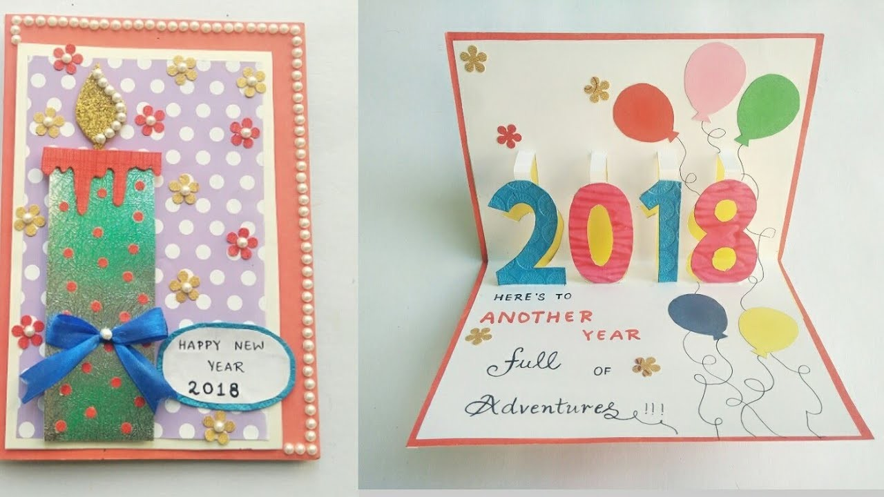 DIY New Year Card 2018.Greeting Card for New Year Celebration.New Year Pop Up Card