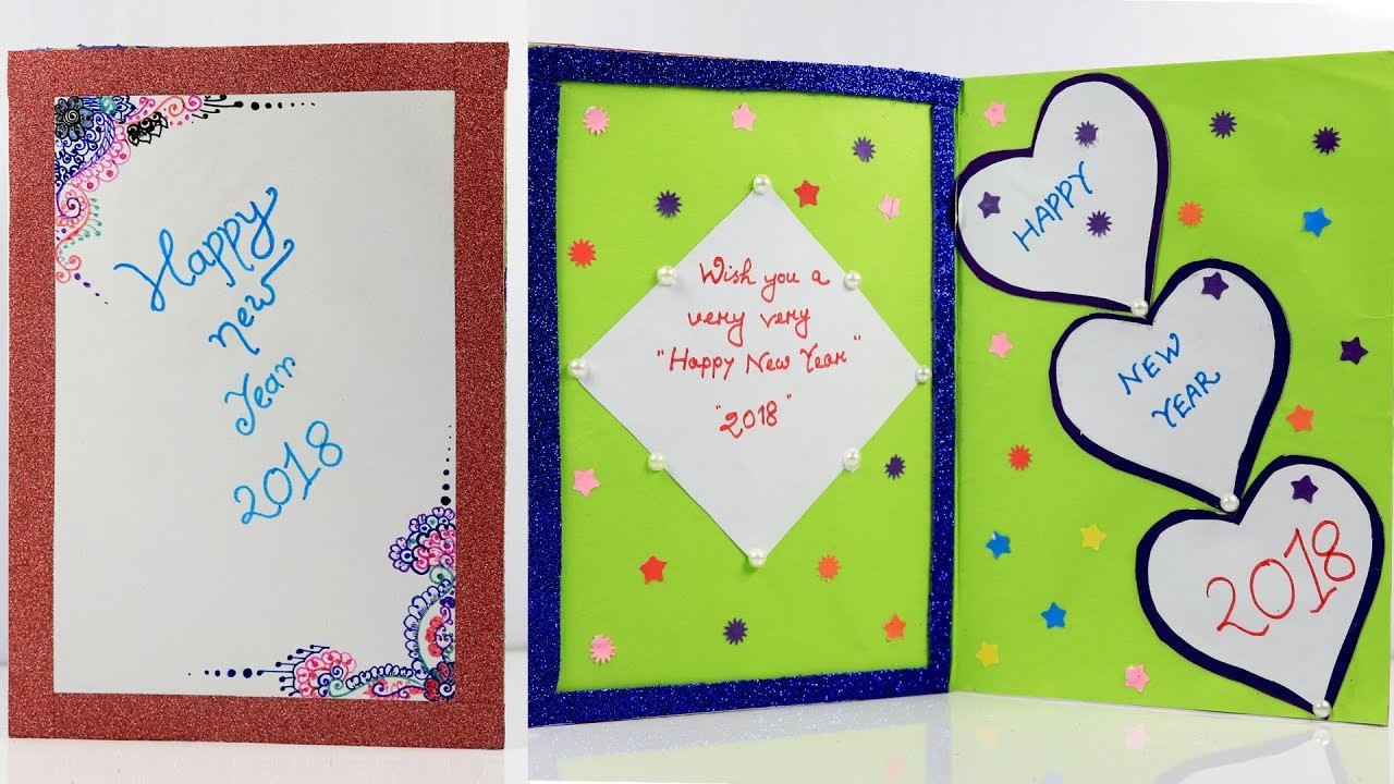 diy new year card 2018 how to make a handmade greeting card for new year sb crafts