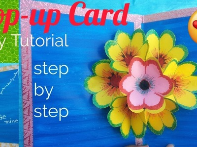 DIY pop-up Card.  Handmade 3D Flower Pop-up Card.