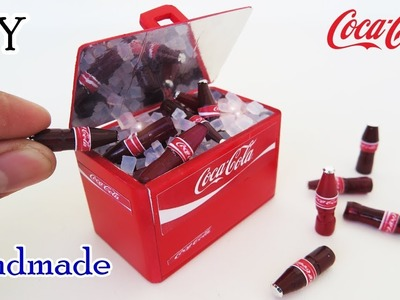 DIY Realistic Miniature Coca cola bottle & Coca cola Cooler |  Handmade  dollhouse