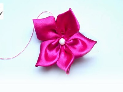 Flower Making with Ribbon - How to Make Flower with Ribbon easily