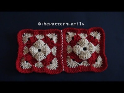 How to Crochet and Join Square Motifs Pattern #184│by ThePatternFamily