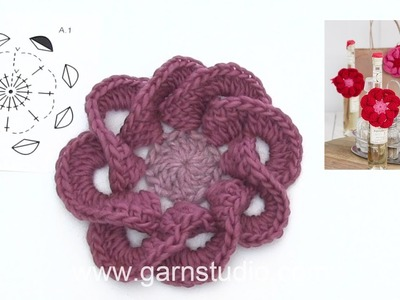 How to crochet the flower in DROPS Extra 0-1407