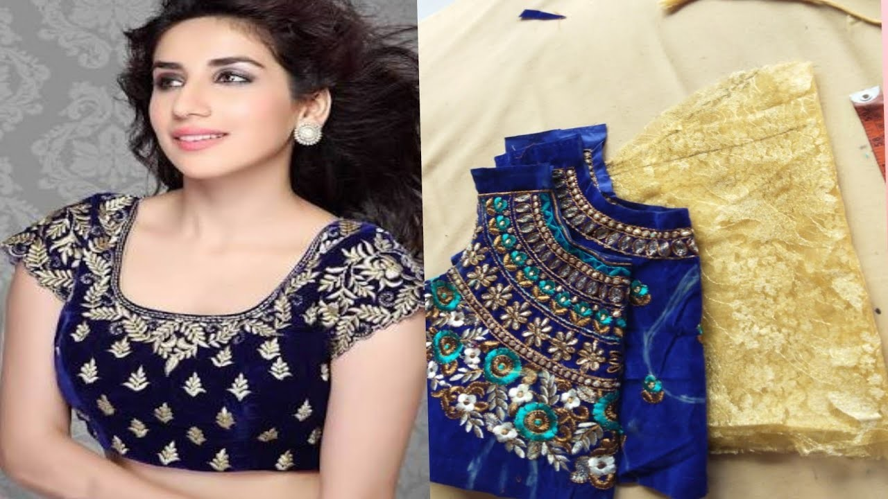 How to cut heavy saree blouse