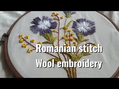How to do Romanian stitch |Wool embroidery|Dianthus flower embroidery|a bit of styling
