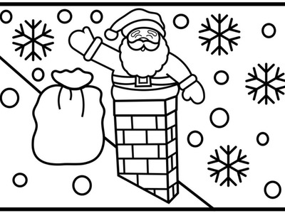 How To Draw Santa Going Down The Chimney