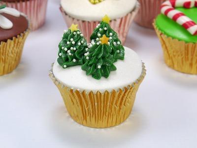 How To Make A Piped Christmas Tree Trio Cupcake