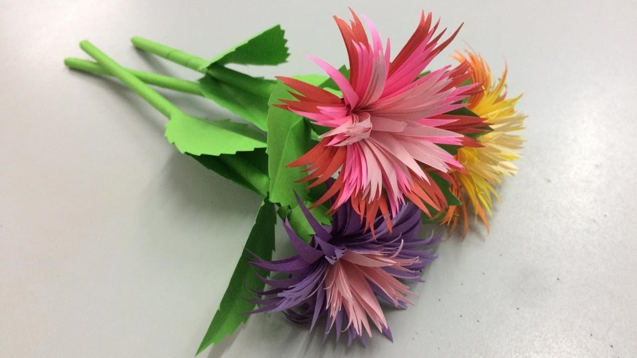 How To Make Aster Flower With Paper Making Paper Flowers Step By