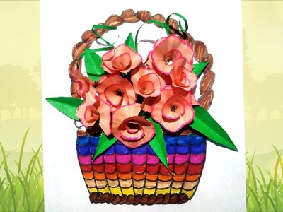 How to make beautiful flower's basket with pencil waste.