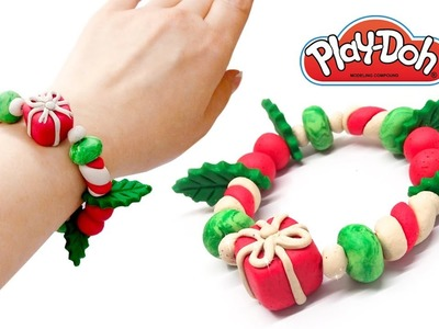 How to Make Christmas Charms Bracelet. DIY Play Doh Clay Bracelet. PlayDoh Gift Idea. Video for Kids