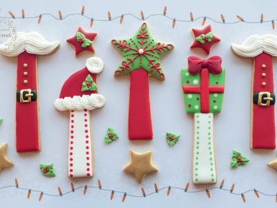 How to make CHRISTMAS COOKIE STICKS - Christmas cookie tutorial by Cookielicious NZ