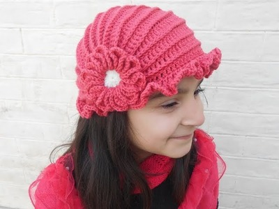 How to make crochet hat with flower design