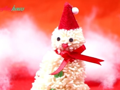 How to Make Cute Snowman with Woolen Pompom for Christmas Decoration