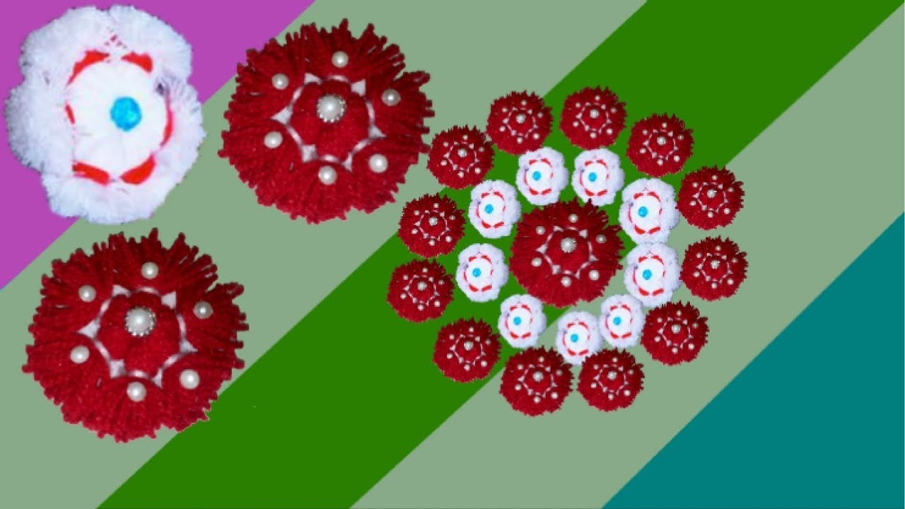 How to make Easy Woolen Flowers step by step | Handmade woolen thread.yarn flower making idea - diy