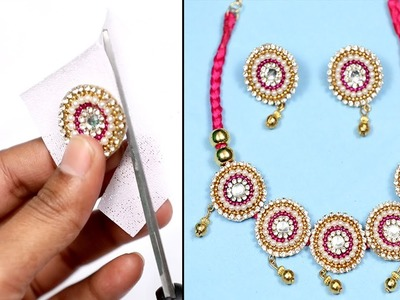 How To Make Fancy Jewellery Chain Design with Silk Thread Golden Beads || DIY