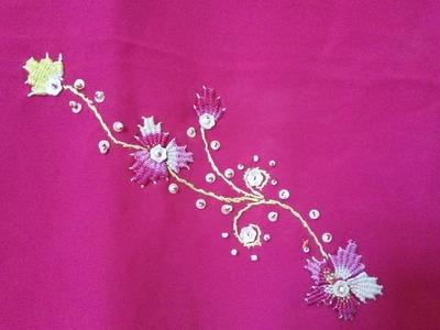 How to make kadai kamal stitch on saree - simple and easy