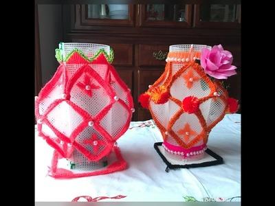 How to make  plastic canvas flower vase. Plastic canvas
