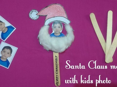How to make santa claus with kids photo & icecream stick||Easy & quick santa claus making|kids craft