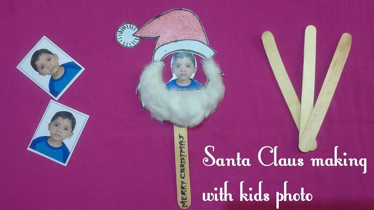 How to make santa claus with kids photo & icecream stick||Easy & quick santa claus making|kids craft