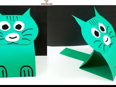 Learn to make a Paper Cat -  Easy Tutorial -  DIY paper cat