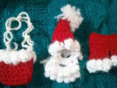 Santa cap,pant,beard& mustache and gift bag crochet santa christmas dress #2 (1-2no.)part–2