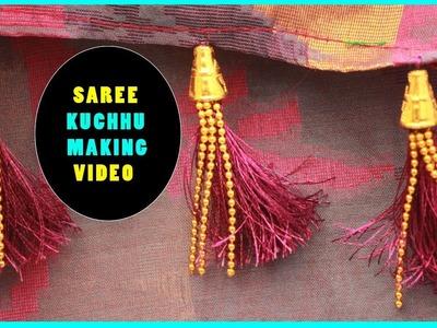 Saree kuchu making | how to make saree kuchu.tassels with beads | tutorials for beginers