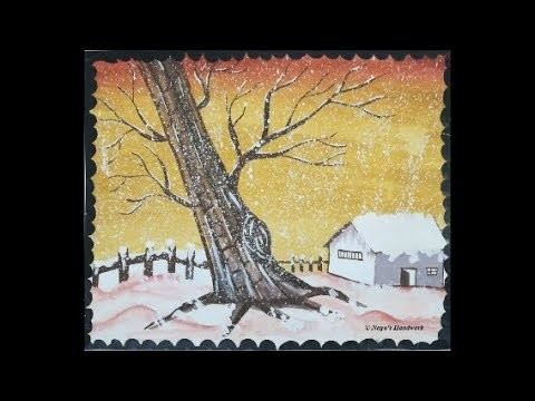 Snowfall Painting-Painting for Beginners-How to paint Snow-Poster Color Painting