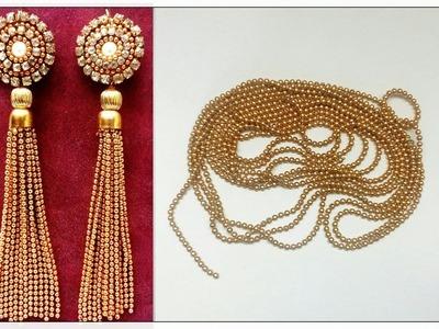 Tassel Earrings Using Silk Thread. Ball Chain Earrings | DIY Tutorial