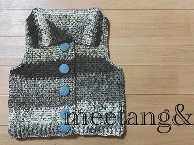キッズベストの編み方4.4 How to crochet a children's vest
