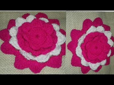 কুশিকাটার কাজ||কুরুশের ফুল||How to make corchot double flower||flower||corchot work