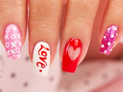 4 EZ DIY Hand Painted Valentine's Nail Art