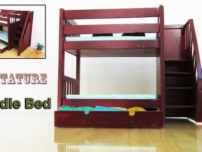 Bunk Bed with  Trundle |  how to make Miniature Realistic furniture | easy crafts ideas