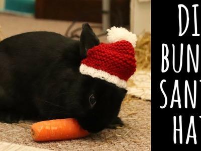 BUNNY SANTA HAT! Beginner knitting tutorial | ThatQuirkyGirl