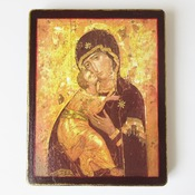 Byzantine Holy icon Theotokos of Vladimir Sacred Russian Icon 5 x 6.5 Wooden Icon Our Lady of Vladimir Christian Gift Decoupage on wood art