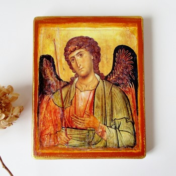Byzantine Icon Saint Gabriel the Archangel Religious Icon Antique Image Orthodox icon Catholic Icon 5 x 7 wooden icon Christian art gift