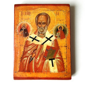 Byzantine Icon Saint Nicholas Large Orthodox Christian Religious Icon Saint Nikolaos the Wonderworker Catholic Plaque Christian art gift