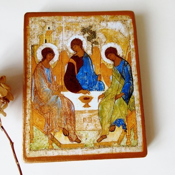 Christian Holy Trinity Icon Orthodox Catholic icon of St Andrei Rublev on Wood Holy Trinity Spiritual Gift for Easter medium size