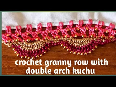 Crochet granny row with double arch Saree kuchu. Saree tassel. edging  by Nidhi fashions