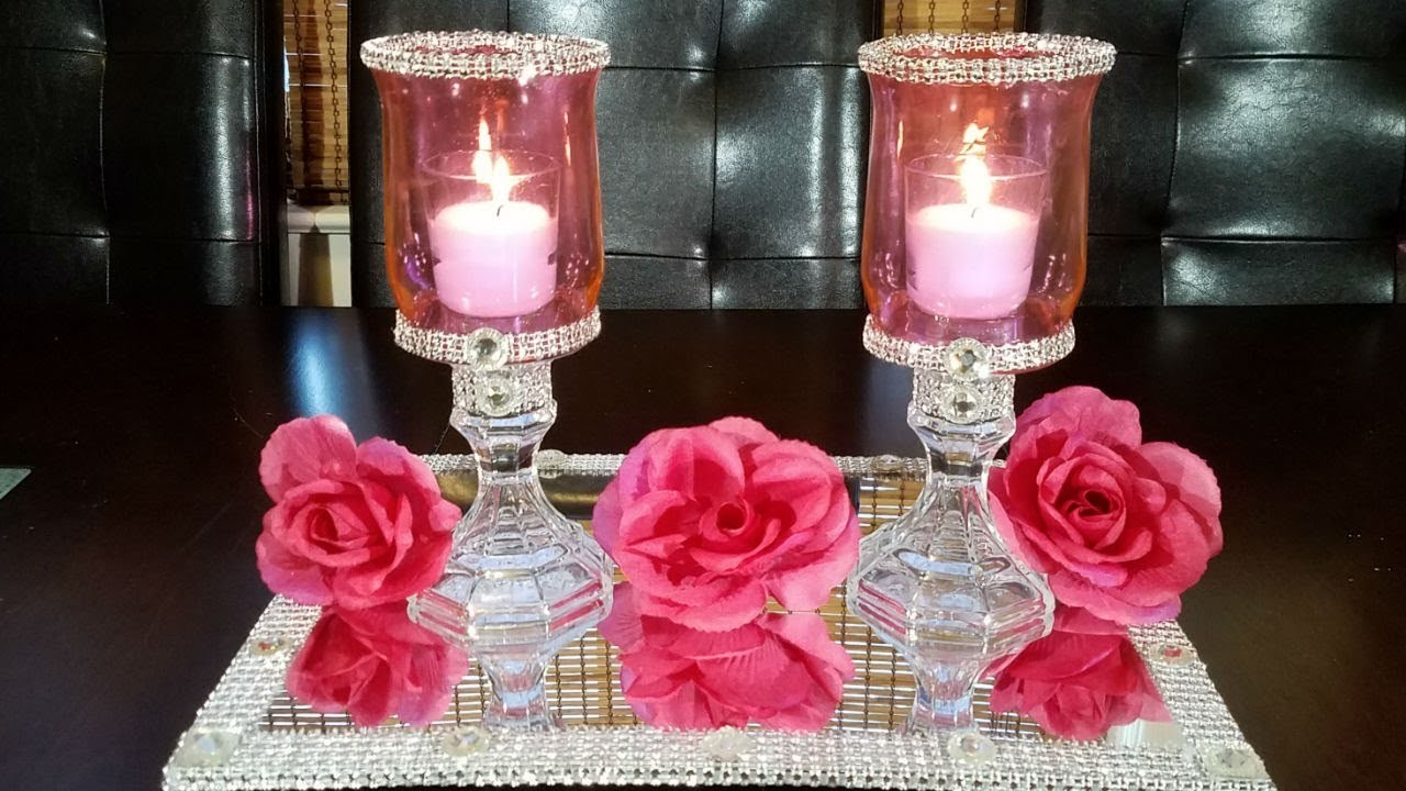 DIY pink candle holders. How to tint glass