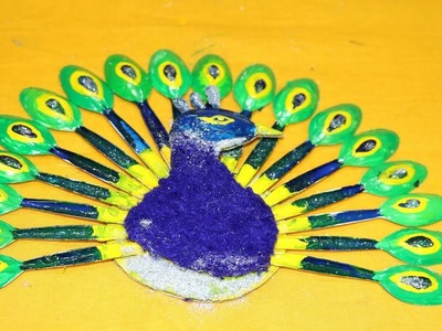 DIY Plastic Spoon Project | How to make peacock with plastic spoons | Easy Diwali craft-Home Decor