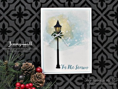 How to create a winter scene with watercolor smooshing using Stampin Up products with Jenny Hall