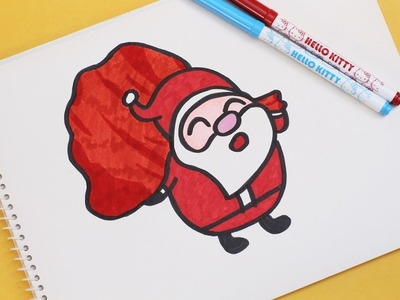 How To Draw A Cute Santa Claus With Bag