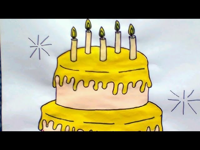 How to draw and colour cake for kids by color and craft your